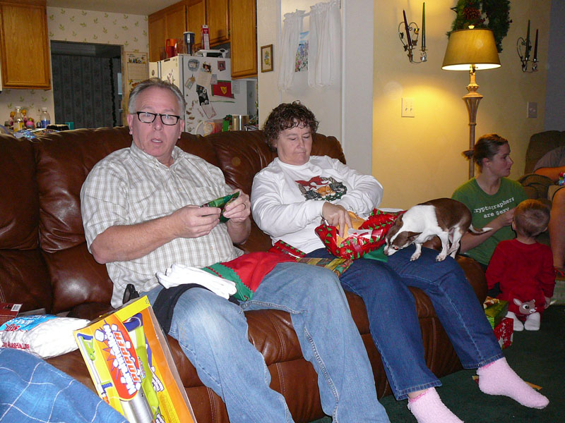 The old folks on Christmas morning.